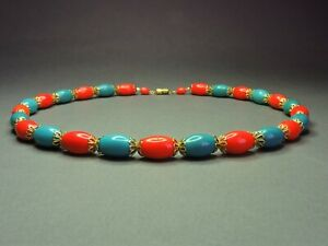 Vintage-Czech-Bohemian-Red-Blue-Glass-Oval-Egg-Bead-Necklace