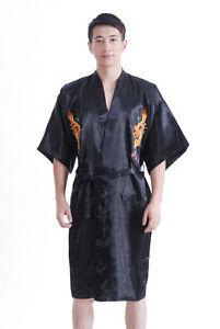 24a49024a2 Chinese Silk satin Men s Dragon Kimono Robe Gown Bathrobe S M L XL ...