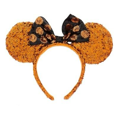 NEW Disney Parks Minnie Mouse Halloween Ears Orange Black Sequin Headband