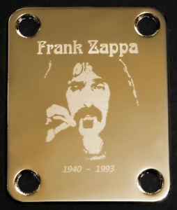 AgréAble Gravé Photo Gravé Guitar Neck Plate-pour Fender-frank Zappa-gold-afficher Le Titre D'origine