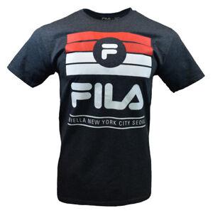 FILA-Men-039-s-T-shirt-Sports-Apparel-Biella-New-York-Seoul-Dark-Heather-Gray
