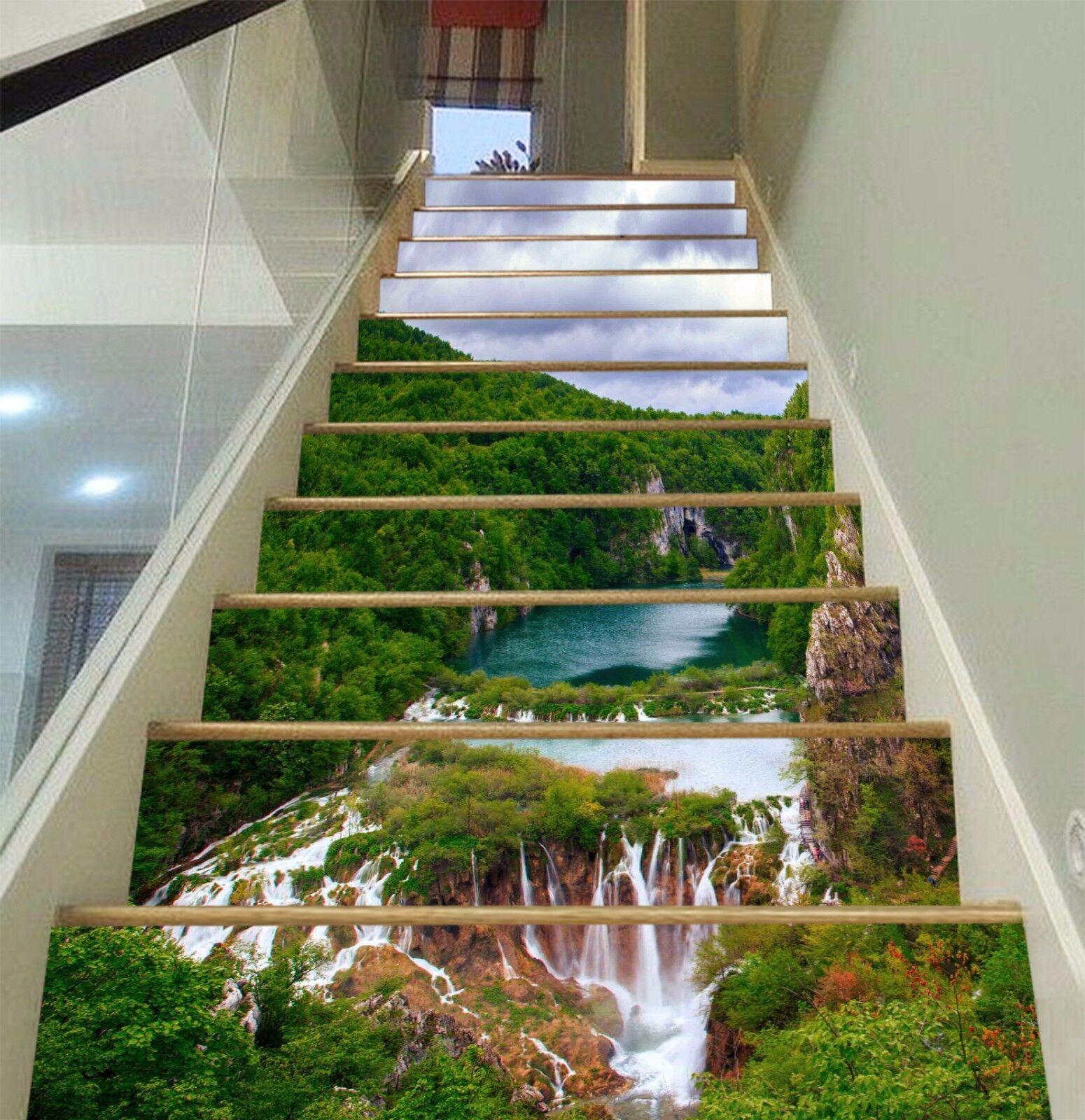 3D Tree Sky Lake 7 Stair Risers Decoration Photo Mural Vinyl Decal Wallpaper UK