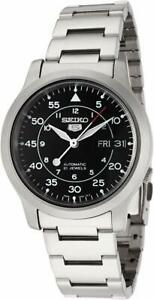 Seiko-5-Automatic-Black-Dial-Silver-Stainless-Steel-Mens-Watch-SNK809K1-RRP-169
