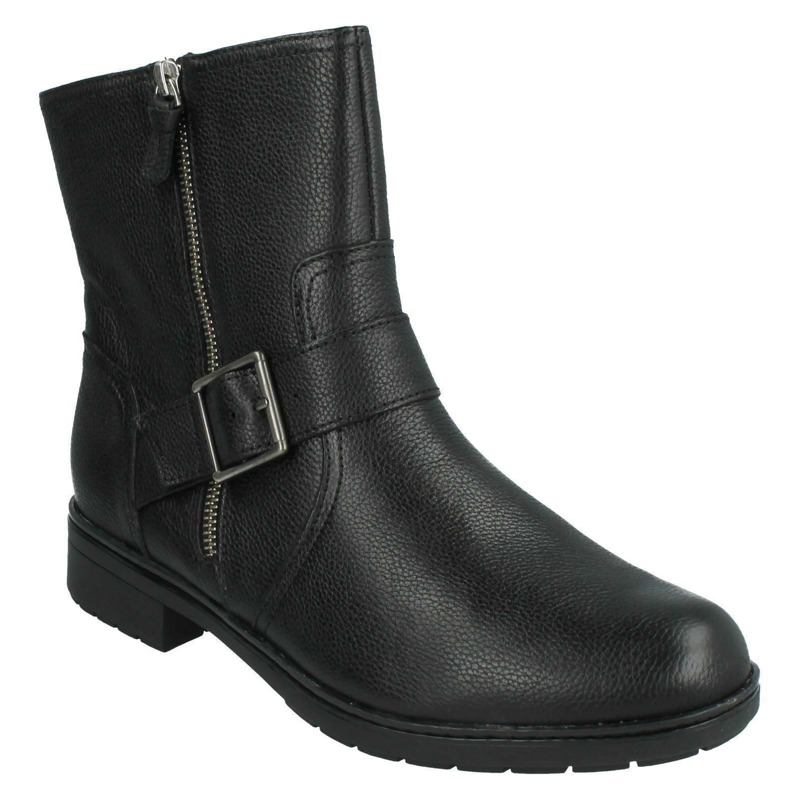 MERRIAN LYNN LADIES CLARKS ZIP LEATHER CASUAL BIKER MID CALF WINTER ANKLE BOOTS