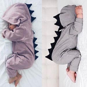 f9d4ed12b459 Newborn Baby Boy Girl Dinosaur Costume Hooded Romper Jumpsuit ...