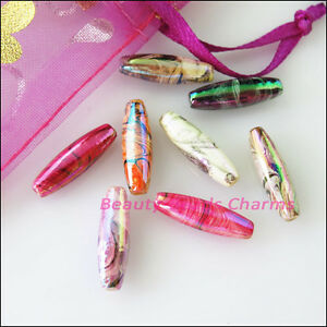 25Pcs-Mixed-Plastic-Acrylic-Oval-Rice-Spacer-Beads-Charms-5-5x19mm