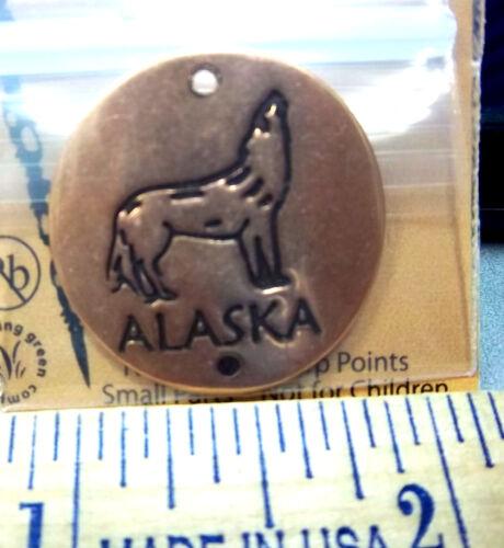 Alaska Wolf en cuivre solides randonnée/trekking stick médaillon avec Easy Mount Tac