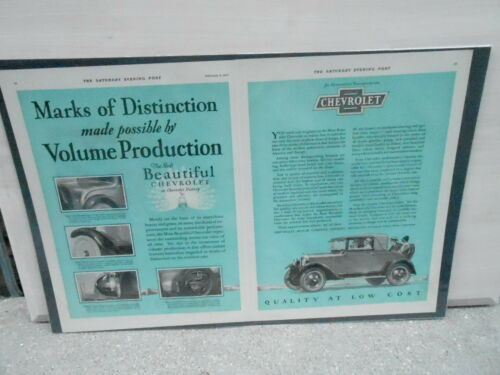 VINTAGE 2 PAGE MAGAZINE AD #0028 CAR QUALITY AT LOW COST 1927 CHEVROLET