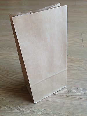 20 BROWN RIBBED CRAFT BLOCK BOTTOMED PAPER BAGS XXX COOKIE SWEETS CAKES XXX
