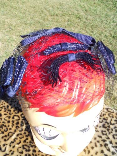 Vintage Navy Fishnet Veil Hat 1940s 50s Cap Hairpi