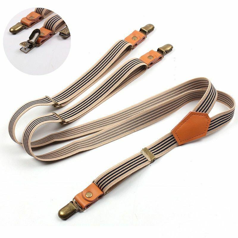 Buckles Suspenders 3 Clips Snap Retro Hook Unisex Suits Trousers Shoulder Straps