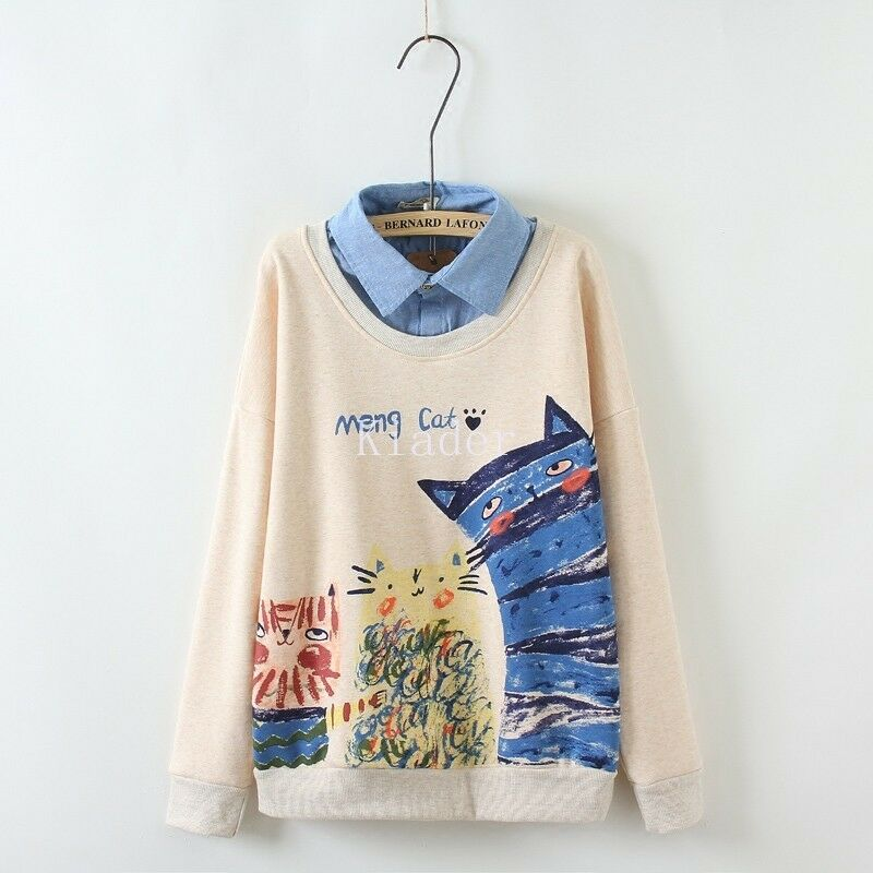 Autumn Women Cute Cat Printing Sweater 2PC quilted Long Sleeve Students Shirts