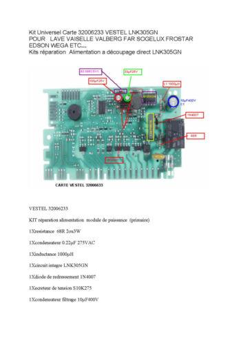 Kit reparation dishwasher listo lvi 49 map 32006233 vestel lnk305gn