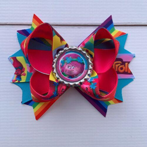 "4.5"" Handmade Poppy Trolls Boutique Hair Bow Rainbow"