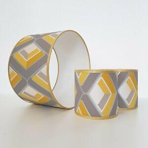 Abat-jour-jaune-moutarde-Gris-Or-moderne-et-contemporain-Geometrique-Retro