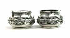 Victorian Sterling Silver Salt Cellars Pair Foliate Maltese Cross Ornament 1874