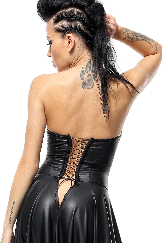 DEMONIQ WETLOOK WETLOOK WETLOOK KLEID schulterfrei gothic schwarz clubwear lack pvc  schnürung 803617