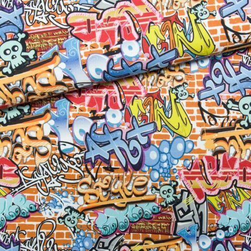 170g//m2 Stoff Kombi Single Jersey Graffiti 180cm breit