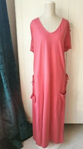 8b650e4c5ac Image is loading NEXT-Gorgeous-Relaxed-Style-Coral-Maxi-Dress-Pocket-