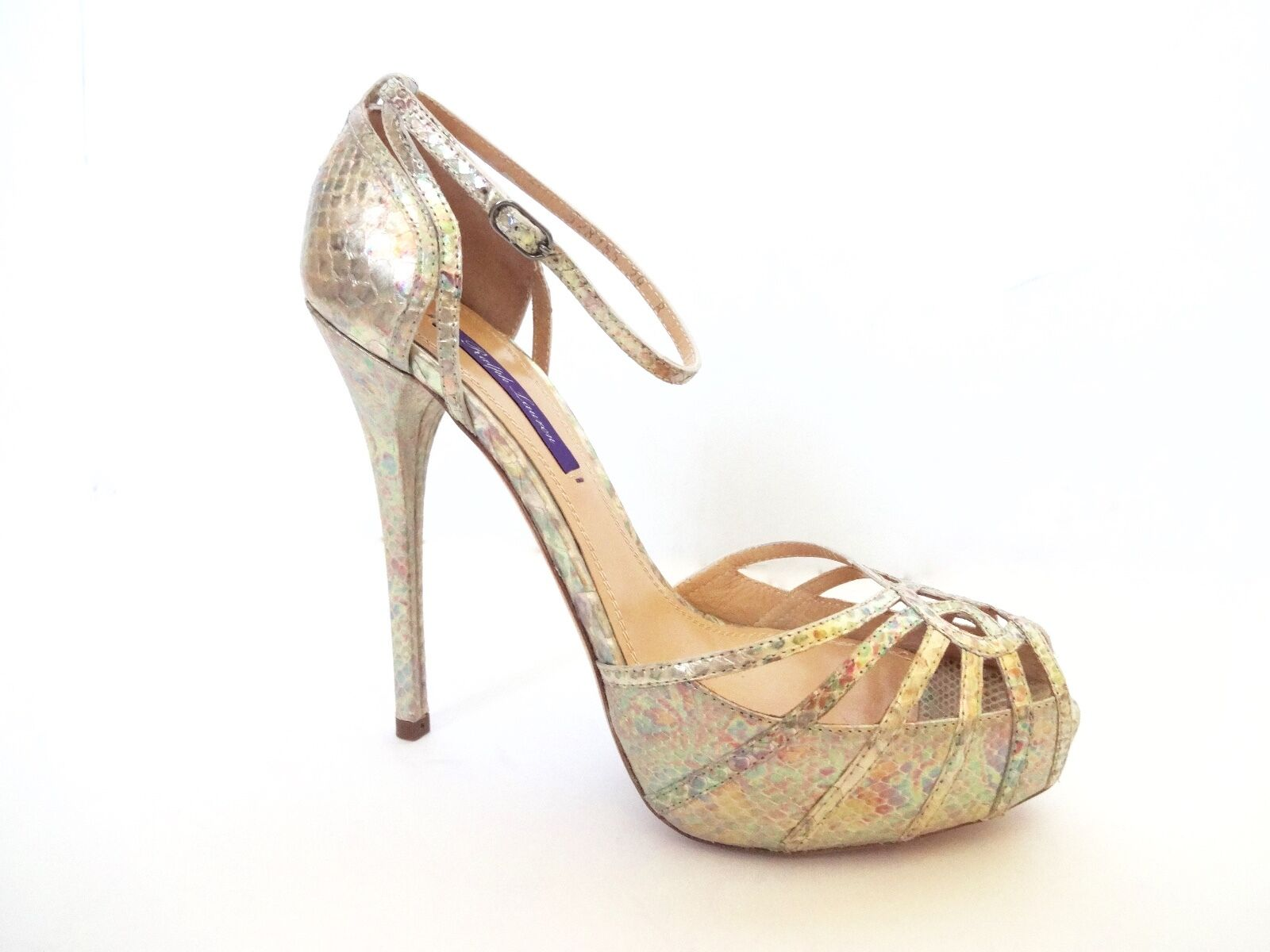 Nw Ralph Lauren Purple Label Collection Jearra Pearl Python Sandals Shoes 39.5 B