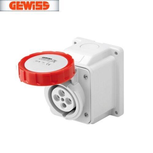 Gewiss GW62442 5P 32A 380-415v 10° Angled Surface Mounting Socket IP67 3P+N+E