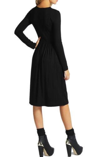 New Ladies Women/'s Long Sleeves Frankie Flared Swing Midi Skater Dress Top 8-26