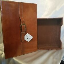 Vintage Bombay Leather Executive Desk Letter Tray With Brass Belt Buckle Lid