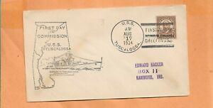 U. S. S. Tuscaloosa Primer Día Tarjetas Aug 17,1934 Naval Cubierta