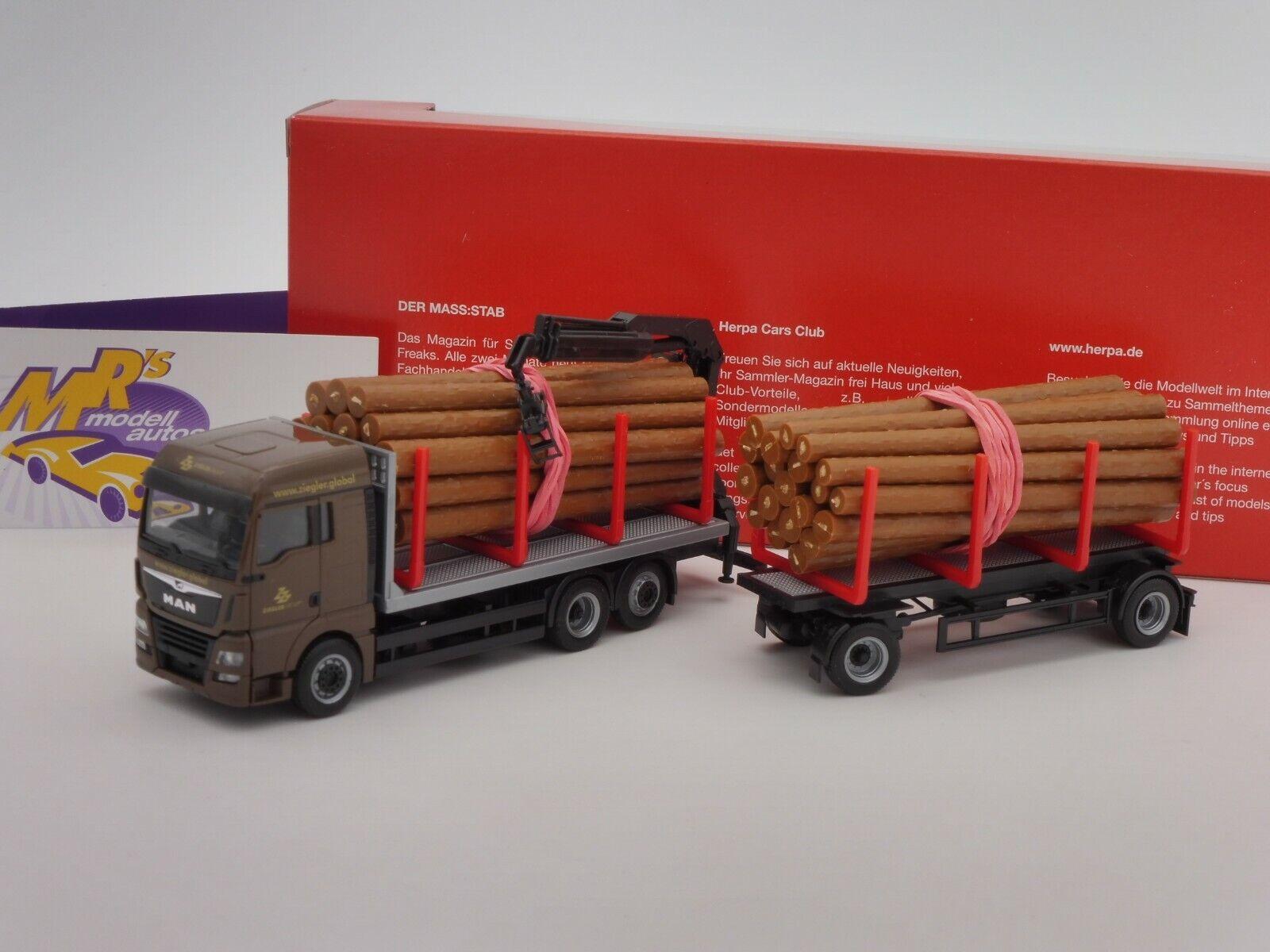 Herpa 310277 MAN TGX XLX Wood Transporter hängerz  Ziegler Group Bayern  1 87
