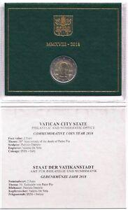 2018-Vaticano-Vatican-2-Euro-Commemorativo-50-Anni-Morte-Padre-Pio-In-Folder-FDC