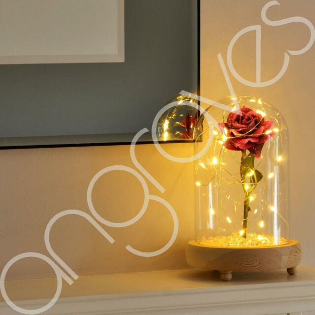 Beauty & the Beast Inspired Enchanted Rose in Glass Dome Bell Jar with Lights