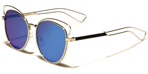 Designer Rund Katzenaugen Sonnenbrille Luxus Steampunk Metall Große Großen Damen