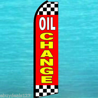 Twin Pack Swooper Flags /& Pole Kits Oil Changes Red Yellow Blod Lettering