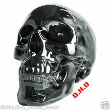 S61 A Silver Chrome Skull Money Box Piggy Bank Gothic Sci Fi Décor Great Gift