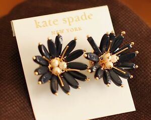 Kate Spade Nwt Rare Field Day Navy Blue Flower Earrings Studs Daisy