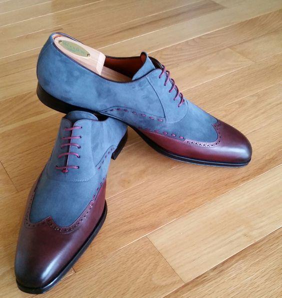 designer online Handmade Uomo two tone wing tip scarpe, Uomo blu and and and Marrone formal scarpe, Uomo scarpe  acquista la qualità autentica al 100%