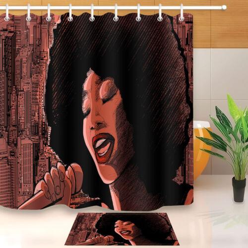 Afro African American Jazz Singer Shower Curtain Sets Bathroom Waterproof Fabric
