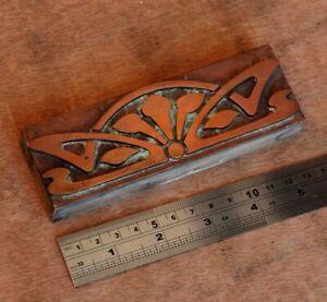 letterpress-printing-block-ornament-Art-Nouveau-frame-wood-rare-copper-flower
