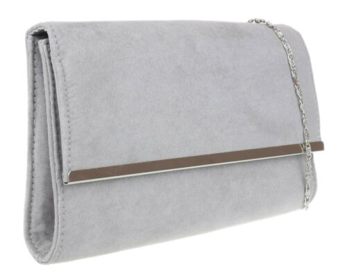 Womens Plain Faux Suede Clutch Bag Metallic Frame Classic Night Out Party