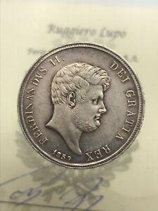 Double-Oreille-1-2-Plaque-60-Grain-1859-Royaume-des-Due-Sicile-Ferdinand-II