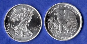 Brand new 1//2 Troy Oz .999 FINE SOLID SILVER ART-ROUND WALKING LIBERTY