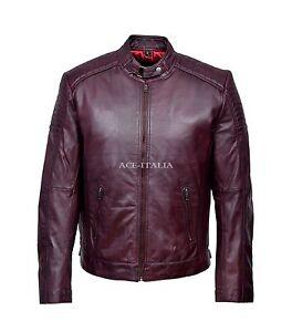 pretty cool super quality online store Détails sur Homme Veste en Cuir Bordeaux Biker Riders Casual Blouson  Véritable Napa 1829-B- afficher le titre d'origine