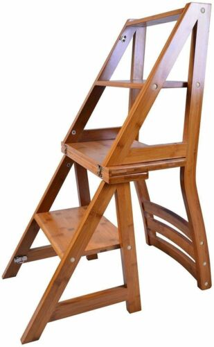 Library Step Chair Solid Wood Folding Bamboo Natural Finish Climb Kitchen Step