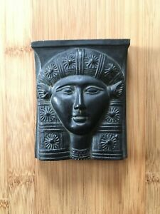 Vintage-Egyptian-1970-039-s-Sun-Tablet-Black-Soapstone-Collectable-24-99