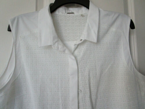 Elie Tahari White Button Front High Low Top Blouse