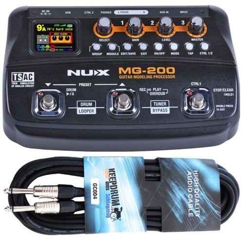 NUX MG-200 Multi-Effektgerät mit Looper keepdrum Gitarrenkabel Drum-Machine