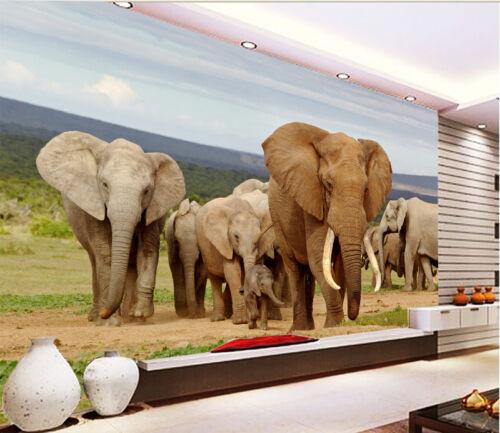 3D Elefantenrasen 57 Tapete Tapeten Mauer Foto Familie Tapete Wandgemälde Summer