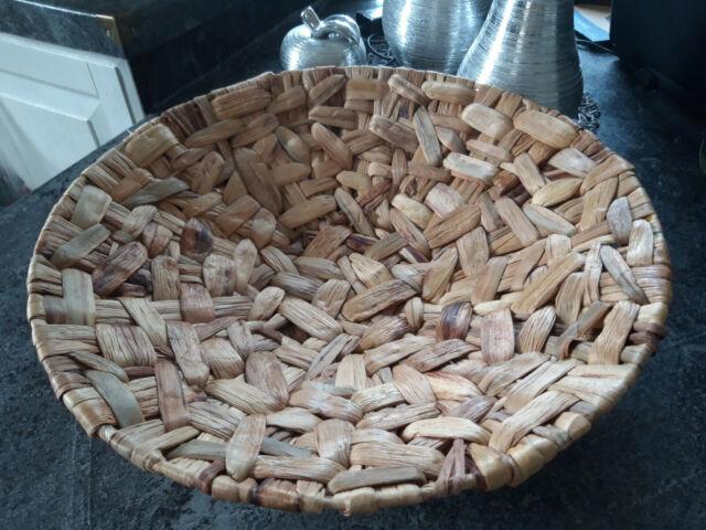 Holz Deko Schale mit Wirbel Muster Tischdeko Teller rund Holzschale Holzteller /Ø 40 cm