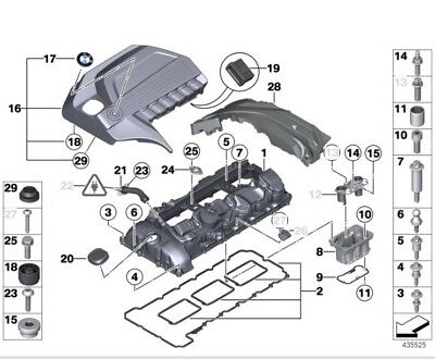 Genuine BMW N55 Engine Valve Cover Gasket,Bolts Kit E82 ...