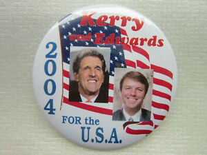 John-Kerry-Edwards-2004-campaign-pin-button-political-For-the-USA-SHIPS-FREE